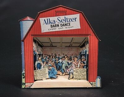 RARE Antique ALKA-SELZER Die Cut Stand Up Advertising Display Barn Dance Sign