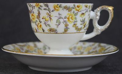 Vintage Napco Ware Gold Gilt Yellow Roses Footed Porcelain Teacup And Saucer Set