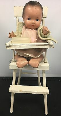 Vintage 1930's-40's Composition Baby Doll with 1940's Wood High Chair Bottle
