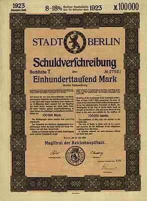 Stadtanleihe Berlin 1923 Gustav Böß 100.000 Mark City Of Berlin Loan uncancelled