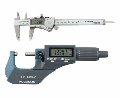 """0-1"""" Electronic Outside Micrometer & 6"""" LCD Caliper, IP54, Water Resistant"""