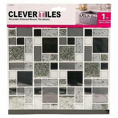 Self adhesive Mosaic Tile Stickers Kitchen Bathroom Silver Glitter 10 x 10 Inch