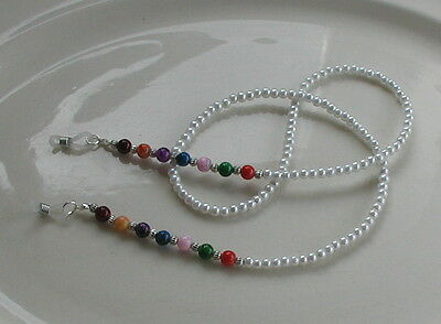 """Chakra Pearls"" Handmade Glass Beaded Glasses Chain Spectacles Holder"