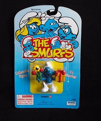 "Smurf ~ ""Gift & Flowers"" ~ Mint on Card ~ Peyo ~ Schleich ~ Irwin ~ 1995"