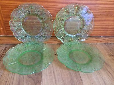 Set Of 4 Vintage Green Depression Elegant Saucer Plates