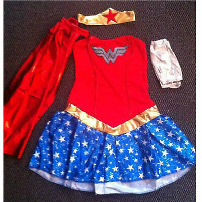 womens wonder woman fancy dress costumes ladies sizes 6-18