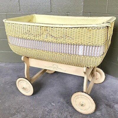 Large Vintage Antique Wicker/Wood Baby Bassinet on Wheels - Exquisite Details