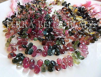 "4"" strand WATERMELON TOURMALINE faceted gem stone pear briolette beads 7mm - 8mm"