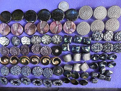 84 Lot Beautiful Old Vintage Glass Buttons