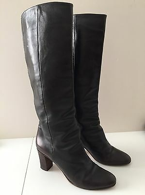 Maison Martin Margeila Dark Brown Leather Knee Boots - Size 41