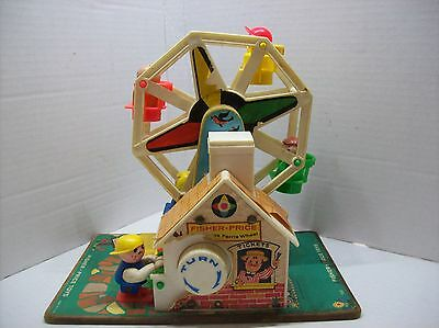 Vintage 1966 Fisher Price Music Box Ferris Wheel #969 WORKS comes with 4 figures