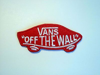1x Red Vans Logo Patch Embroidered Cloth Applique Badge Patches Iron Sew On