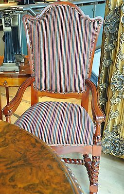 Large Twisted Jacobean Stripe Green Burgandy Red Period Dining Carver Arm Chair