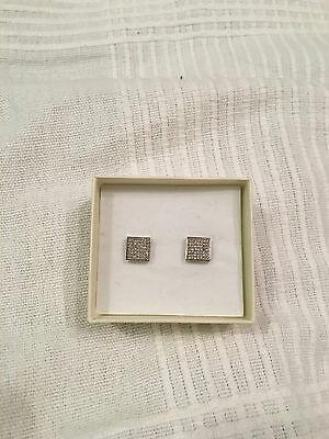 solid white gold 10K square natural diamonds studs screw back earrings 530$