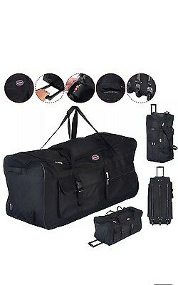 """36"""" Rolling Wheeled Tote Duffle Bag Carry On Luggage Travel Suitcase Black New"""
