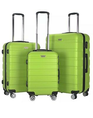 GLOBALWAY 3 Pcs Luggage Travel Set Bag ABS+PC Trolley Suitcase Green
