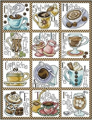 December Coffee. Coffee Sampler. 14CT counted cross stitch kit. Craft brand new.