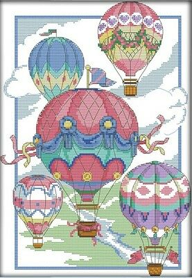 Illustion of Hot-Air Balloons. 14CT counted cross stitch kit. Craft brand new.