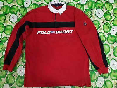Vintage VTG Polo Sport Ralph Lauren Spell Out PWing Stadium Bear RUGBY Shirt L