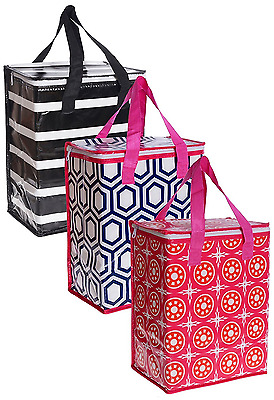 3 Piece Hot Cold Tote Bag Large Thermal Insulated Reusable Grocery Shopping Bag