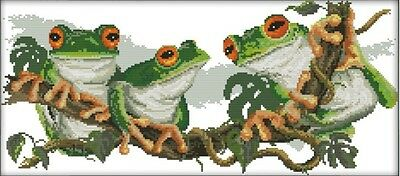 Three Frogs. Tree Frogs. 14CT counted cross stitch kit. Craft brand new.