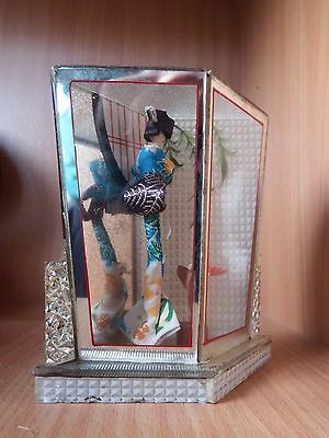 Fabulous Oriental Geisha girl in a mirrored glass case, Japanese, Vintage classy