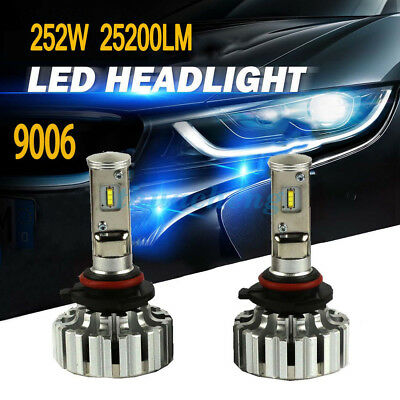 9006 LED Headlights Bulbs Kit Conversion 6000K Canbus Power Lamps 252W 25200LM