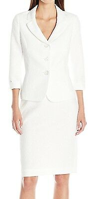 Le Suit NEW White Womens Size 12 Three-Button Textured Skirt Suit Set $200 119
