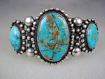 Early Navajo Twisted Silver & 3 Natural Turquoise Bracelet