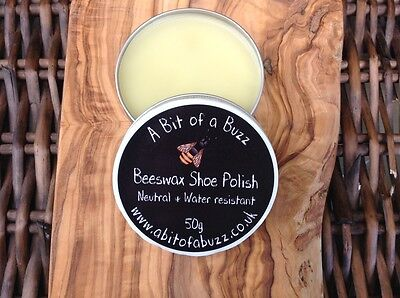 Beeswax Shoe Polish. Neutral & Water Resistant. 50g