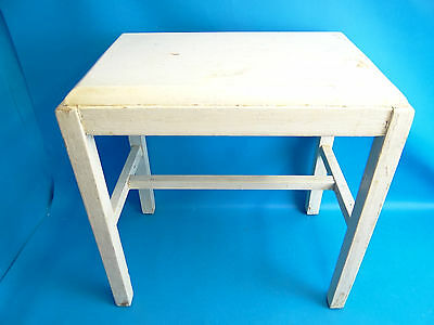 Vintage Used Painted White Wood Small Ottoman Footstool Bench Furniture Old