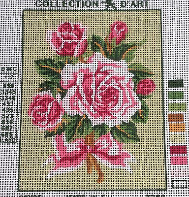 PINK ROSE BOUQUET - Tapestry to Stitch (NEW) by Collection D'Art