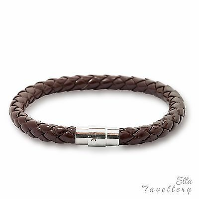 Brown 6mm Mens Genuine Leather Braided  Bracelet Stainless Steel Clasp