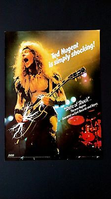 """Ted Nugent """"state Of Shock""""  Rare Original Print Promo Poster Ad"""