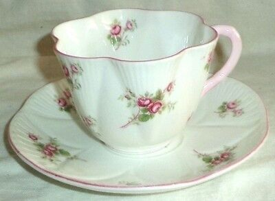 Shelley Dainty Cup & Saucer Rose Spray 13545 Pink Handle & Trim Made in England