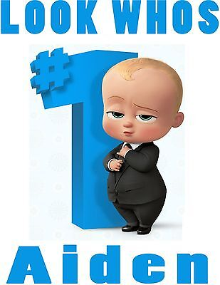 Custom Personalized Boss Baby Look Whos1 Kids First Birthday T Shirt with Name