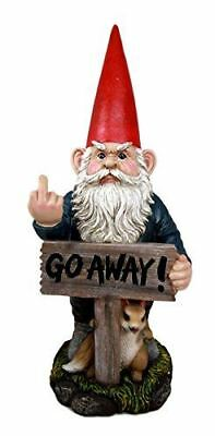 """Rude Garden Greeter """"Go Away!"""" Gnome Dwarf Not Welcome Statue Large Figurine"""