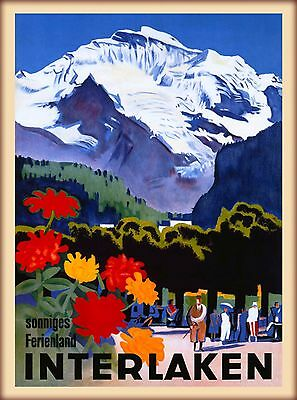 1935 Interlaken Switzerland Swiss Alps Vintage Travel Advertisement Art Poster