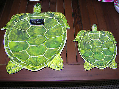 S/2 Cynthia Rowley SEA TURTLE Melamine Serving Trays or Platters--NWT