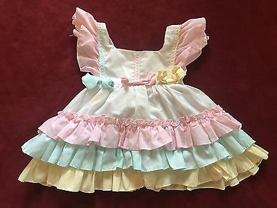 Vintage 1980's Baby Girl Ruffle Dress 6/9/12 mo Prop Dress