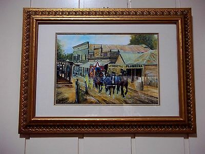 Oil Painting of Coach & Horses at Sovereign Hill Ballarat , by Wade Perrett 2001
