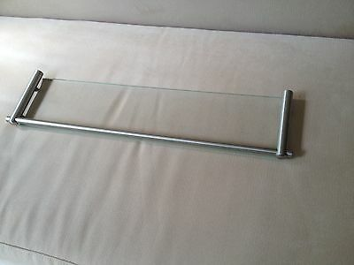 Stainless Steel & Tempered Glass Bathroom Shelf 534mm L x 130mm D