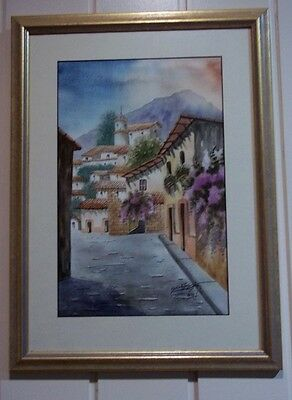 Pair of Spanish or Portuguese Watercolours by Marco Antonio Diaz , 1988