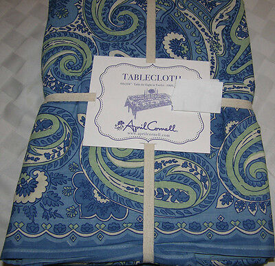 "April Cornell Blue, Green & White Paisley 60 x 104"" Tablecloth--NWT"