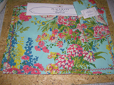 8 pc April Cornell Zinnia Blue, Pink, Yellow & Green Floral Placemats + Napkins