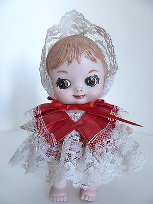 Vintage Porcelain Hand Painted Baby Doll Figurine w Lace Dress and Bonnet