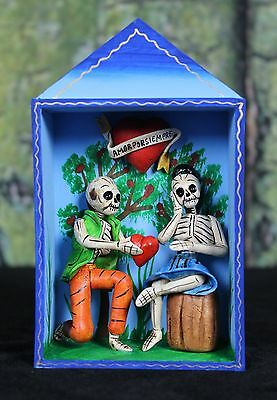 Dias de los Muertos Man & Woman in Love Hand Made Retablo Nicho Folk Art Peru