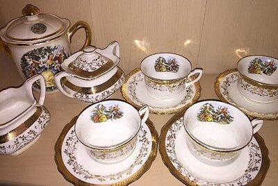Vintage China W S George Victorian Courting Couple Teapot & Cream and Sugar Cups