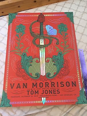 Limited Edition Van Morrison And Tom Jones Concert Poster The Hollywood Bowl
