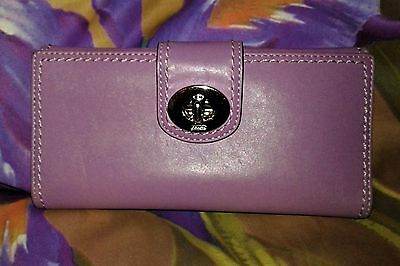 Coach Bifold  Purple Leather Twist Lock Snap Button Coin Pocket Wallet